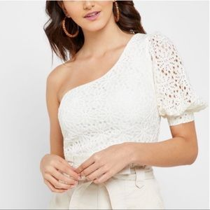 NEW Topshop One Shoulder Lace Puff Sleeve Top
